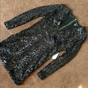 NWT Venus Black Sequin Deep V Dress, S